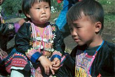 Blue Hmong young girl and boy in a village on Doi Suthep above Chiang Mai 8812l12