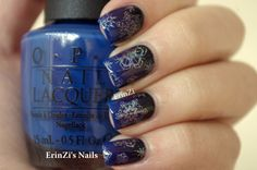 """""""The polishes I used for the gradient are OPI Dating A Royal, Vant to Bite My Neck? and Sinful Colors Black on Black. The stamp is 319 and 323 by Bundle Monster, I used them with Color Club Harp On It"""" From http://www.erinzi.com/2013/09/the-31-day-challenge-15-delicate-print.html"""