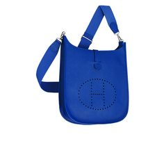 "This color is everything! Need in PM. Evelyne III Hermes shoulder bag in electric blue epsom calfskin (size GM) Measures 13"" x 12"" x 4"" Silver and palladium hardware. Adjustable strap, outside pocket, leather tab closure, perforated leather plaque."