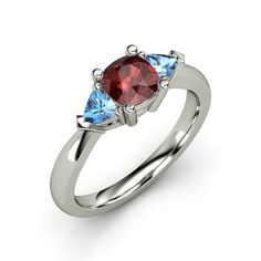 Cushion Red Garnet Palladium Ring with Blue Topaz - Tahlia Ring | Gemvara