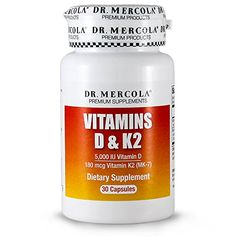 Dr Mercola Vitamins D and K2 - 30 Capsules - Supplies 5,000 IU Of Vitamin D3 and 180 mcg Of Vitamin K2 A MK-7 - Vitamin K2 Produced From Chickpeas - Supports Heart Health and Vascular System ** Want additional info? Click on the image.