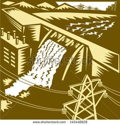 Illustration of a hydroelectric hydro energy generation dam with pylons and buildings done in woodcut style. - stock vector #dam #woodcut #illustration
