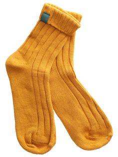 Yellow Casual Ribbed Foldover Socks @trulyawanderer
