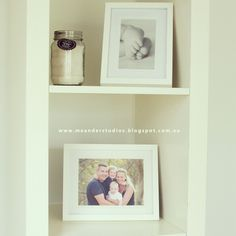 Shelf display in Meander Studios new photographic studio. Set on acres of natural surrounds for relaxed and stunning family portraits. Melbourne. Australia.