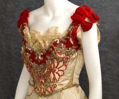 Catherine Donovan silk brocade ball gown, c.1890  Born in Ireland, Mrs. Donovan became a top dressmaker for the New York carriage trade at the end of the 19th century. The gown makes a strong fashion statement with its bold color scheme that perfectly captures the optimism of the newly wealthy American elite.