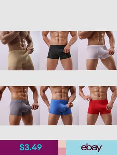 Men's Long Bulge Pouch Briefs Shorts Pants Underwear Smooth Pouch Boxers SP Hot Men, Sexy Men, Hot Guys, Download Video, Boxer, Bikinis, Swimwear, Underwear, Army