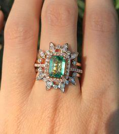 4.26 EM Round 3 stone Mint Light Sea Turquoise Green Classic Promise Bridal Wedding Engagement Classic Designer  Ring Solid 14k Rose Gold