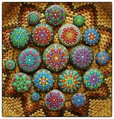 Collection of Elspeth McLean Jewel Drop Mandala stones Use cheap brushes, patio paint (works well with rocks and terracotta), and seal it. Pebble Painting, Dot Painting, Pebble Art, Stone Painting, Stone Crafts, Rock Crafts, Arts And Crafts, Mandala Rocks, Mandala Art