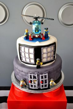 Lego City Police themed birthday party via Kara's Party Ideas KarasPartyIdeas.com Cake, decor, printables, invitation, favors, stationery, a... #themedcakes