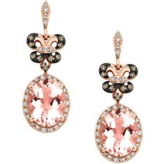 EFFY Morganite and 1/2 ct. tw. White and cocoa diamond Dangle Earrings... (1,960 CAD) ❤ liked on Polyvore featuring jewelry, earrings, accessories, pink, white diamond earrings, long diamond earrings, pink dangle earrings, 14k rose gold earrings and rose gold earrings