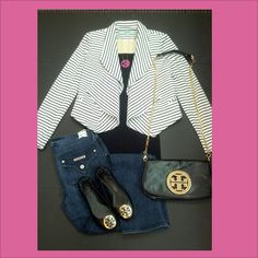 Karlie Striped Point Blazer in Black/White, Nikibiki Tank in Black, Hudson Carly Midrise Straight Jean in Nantucket Island, Tory Burch Reva in Black with Gold Logo, Tory Burch Logo Clutch in Black, Moon & Lola Acrylic Block Monogram Necklace in Hot Pink