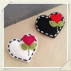 Items similar to Sweet Heart White or Black Wool Felt Baby Snap Hair Clip ( Pick One ) on Etsy Fabric Crafts, Sewing Crafts, Valentine Crafts, Valentines, Felt Embroidery, Felt Baby, Felt Decorations, Felt Christmas Ornaments, Felt Brooch