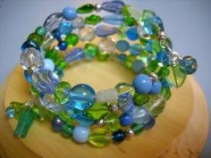 SEA BREEZE Beaded Memory Wire BRACELET by Beads4You2008 on Etsy,