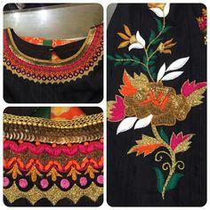 Super thread work Hand Embroidery Designs, Embroidery Patterns, Machine Embroidery, Kurti Patterns, Blouse Patterns, Hand Work Design, Indie, Bollywood, Folk