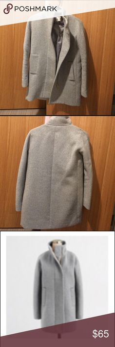 Jcrew factory city coat Gently used coat, just dry cleaned. It's a little too tight for my liking.beautiful grey lining. The pockets have holes in them from carrying keys  but those are very easily fixable. I just have no sewing skills. J. Crew Jackets & Coats Pea Coats