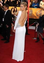 low back white jersey gown
