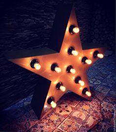 """Купить Декоративная звезда-светильник """"STAR"""". - золотой, буквы из металла, буквы из железа, буквы с лампочками"""