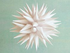NEW Paper Star Ornament, White Christmas Tree Ball,  Modern Decoration, Made in Michigan - Linen White, 4 inch