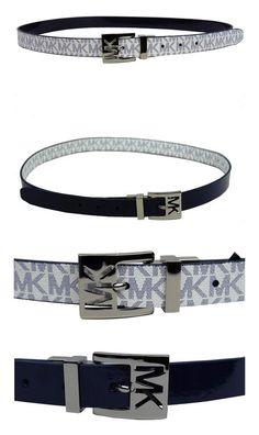 5f383a1533e $38.99 - Michael Kors Women's 25mm Reversible Patent to Logo PVC Belt Navy  Belt #michaelkors