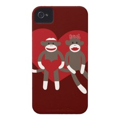 Sock Monkeys in Love Hearts Valentine's Day Gifts iPhone 4 Covers