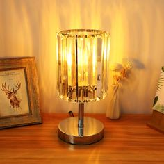 Modern Crystal Table Bedside Lamp, Desk Lamp with Chrome Base, Nightstand Lamp for End Table Living Room Bedroom Dining Room Hotel Restaurant By Acaxin Bedroom Lamps Vintage, Vintage Lamps, Retro Table Lamps, White Table Lamp, Nightstand Lamp, Led Desk Lamp, Atollo Lamp, Glam Lamps, Cordless Lamps