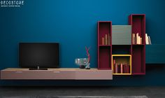 Decostore by Zorzos Co Modern House Design, Home Design, Interior Design, Tv Unit Design, Design Blogs, Santorini, Shelves, Wooden Furniture, Modern Living