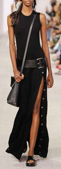 Michael Kors SS16 belt at hip, high slit