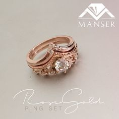 Rose gold diamond engagement ring and fitted rose gold wedding band