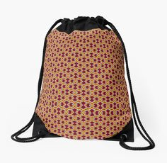 Diamond Shapes on Red Drawstring Bags by Terrella.  A seamless pattern of diamonds and warped diamond shapes linked together in black, red, yellow, lime, blue and pink lines with a dark red background. • Also buy this artwork on bags, apparel, phone cases, and more.