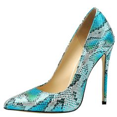 Maikool Women's Sexy Big Size Pointed Toe Colorful Snakeskin High Heels Court…
