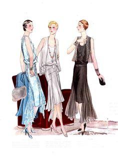 (L-R) Illustration for Jean Patou, Edward Molyneux & House of Worth, 1929 Vintage 20s Dresses, Dior Vintage, Moda Vintage, Vintage Outfits, Vintage Fashion, Vintage Wardrobe, 1920s Dress, 20s Fashion, Art Deco Fashion