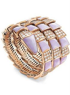 """18k gold, lavender enamel & diamond """"snake charmer"""" bracelet // bvlgari"""
