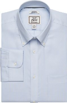 1905 Collection Button-Down Collar Tailored Fit Stripe Dress Shirt