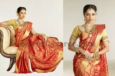 Gold and Red Paisley Design Saree