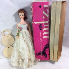 VINTAGE BRUNETTE IDEAL MITZI DOLL IN HALINA'S DOLL FASHIONS CHICAGO WEDDING GOWN