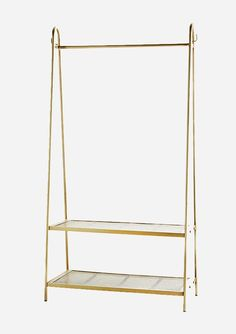Brass Clothing Rail With Two Tier Shoe Rack | Little Deer