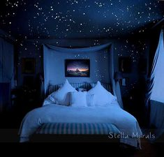Real Ceiling Stars for Romantic Bedroom, Surprise Anniversary Gift – DIY Glow in the Dark Star Decals, Free Gift Wrapping. Celestial Skies Ceiling Stars for Romantic Bedroom DIY Glow in the Dark Star Bedroom Themes, Teen Bedroom, Bedroom Decor, Bedroom Black, Star Bedroom, Bedroom Modern, Master Bedrooms, Dark Romantic Bedroom, Romantic Bedroom Lighting