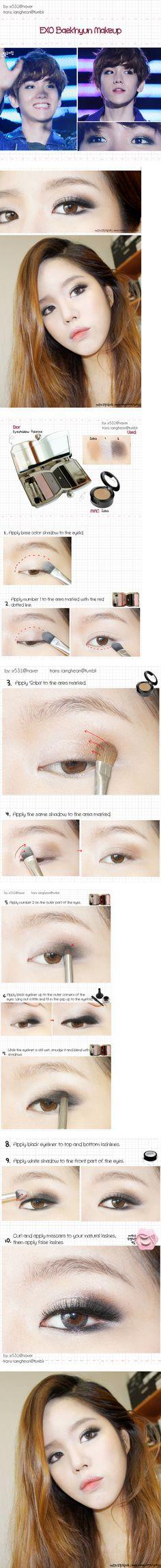 EXO Baekhyun Makeup Tutorial Credit: iamghean@tumblr