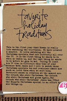 Include favorite traditions