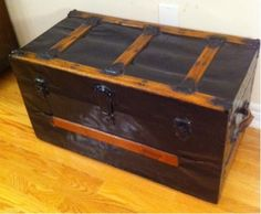 Toronto: ANTIQUE TRUNK - BLACK METAL - OAK SLATS $245 - http://furnishlyst.com/listings/908785