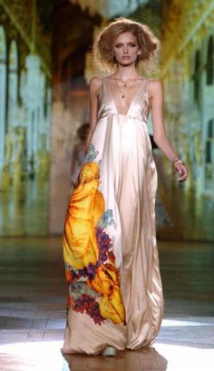 Silky Roberto Cavalli dress with plunging neckline and tropical floral print