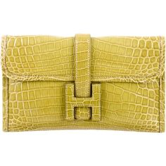 Pre-owned Hermes Mini Niloticus Crocodile Jige Clutch (€10.840) ❤ liked on Polyvore featuring bags, handbags, clutches, green, mini handbags, man bag, fold over purse, hermes purse and green clutches