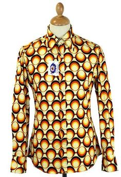 Trip Retro 70s Print Shirt from Madcap England. Cool Op Art Geometric circles, Mod button down big collar and an all round Retro influence. http://www.madcapengland.com/product/13412/madcap-england-retro-70s-mod-geometric-shirt-trip #madcapengland #1970sshirt #trip