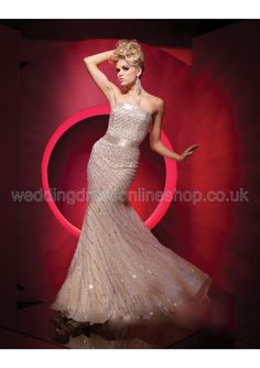 Wedding dress online shop - Beaded and Sequined Chiffon Strapless Modified Mermaid Dress with Flared Trim 2011 Hot Sell Prom Dress P-0155