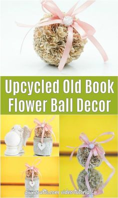 This upcycled old book flower ball decoration is a super easy way to use up scrap paper and make an adorable addition to your home decor! Cheap Rustic Decor, Cheap Home Decor, Diy Home Decor, Vintage Paper Crafts, Easy Paper Crafts, Diy Crafts, Book Page Crafts, Manufactured Home Remodel, Ball Decorations