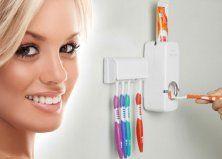 Automata fogpaszta adagoló, fehér színben, 5 db-os fogkefetartóval Automata, Toothbrush Holder