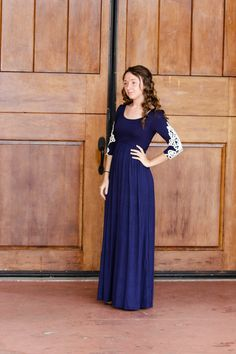 Phoebe - Modest 3/4 sleeve maxi dress with crochet detail available in navy