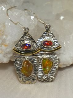 Distinctive Ethiopian Opal and Australian Fire Opal Earring Set featuring polished natural organic-shaped Ethiaopian Opal gemstones, with two oval-shaped Australian Fire Opals, set in 925-hallmarked S