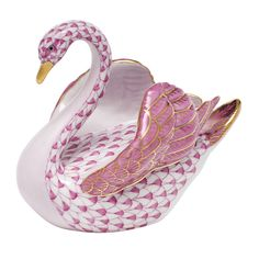 Herend Hand Painted Porcelain Wings Up Swan Figurine Raspberry Fishnet w Gold Accents.