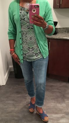 CAbi Green Darby top, Brett jeans, Billie cardigan